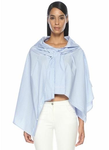 Mo&Co Çizgil Gömlek Görünümlü Bluz Mavi